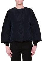 Jil Sander Bracelet-Sleeve Jewel-Neck Short Jacket, Navy