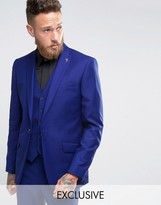 Farah Skinny Suit Jacket with Peak Lapel In Blue