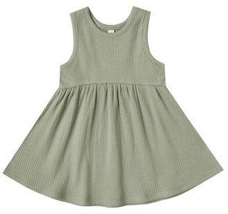 Quincy Mae Ribbed Tank Dress - Moss - 3-6 Months