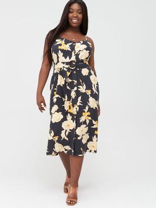 V By Very Curve Printed Linen Floral Midi Dress - Black/Floral