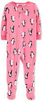 Carter's Toddler Girls Penguin-Print Fleece Footed Pajamas
