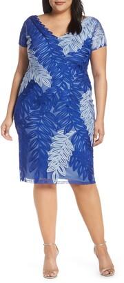 JS Collections Leaf Soutache V-Neck Cocktail Dress