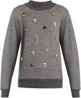 Muveil Embellished cotton-jersey sweatshirt