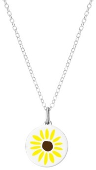 "Auburn Jewelry Mini Sunflower Pendant Necklace in Sterling Silver, 16"" + 2"" Extender"