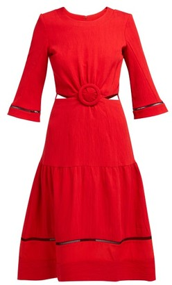 ZEUS + DIONE Parthenon Buckled Plisse Dress - Womens - Red