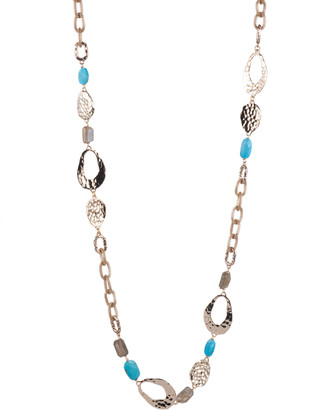 Alexis Bittar Hammered Link With Mesh Chain Multi-Stone Station Necklace