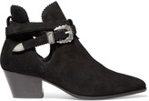 Sandro Aura cutout suede ankle boots