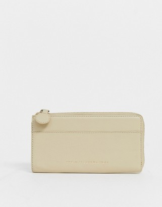 French Connection Vegas leather zip card purse in sand