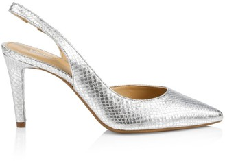 Michael Kors Lucille Snakeskin-Embossed Metallic Leather Slingback Pumps
