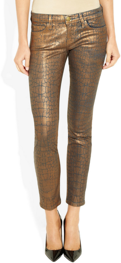 Current/Elliott The Ankle Skinny metallic-coated low-rise jeans