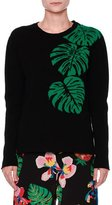 Valentino Cashmere Palm Intarsia Pullover Sweater, Black/Green
