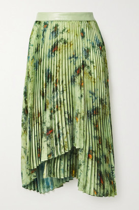 ANDERSSON BELL Faux Leather-trimmed Pleated Tie-dyed Crepe De Chine Skirt - Army green