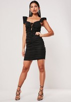 Missguided Frill Sleeve Ruched Mini Dress