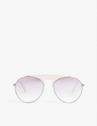 Pinko LW40005U leather bridge pilot-frame sunglasses