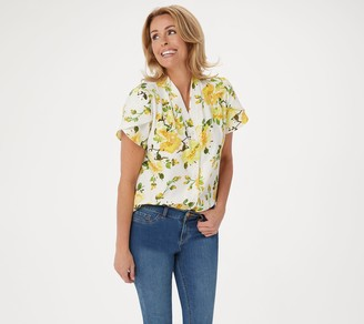 Denim & Co. Printed Button Front Blouse with Flutter Sleeve