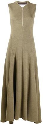 Jil Sander Sleeveless Virgin Wool Godet Dress