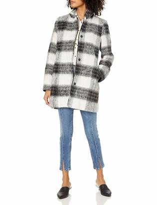 Kensie Women's Mohair Wool Stand Collar Blanket Plaid Coat S