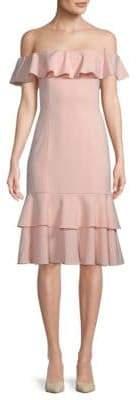 Jay Godfrey Momoa Off-the-Shoulder Midi Dress