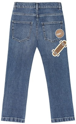 Fendi Kids Applique stretch-denim jeans