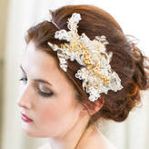 Victoria Millesime Gold Orchid Lace Bridal Headband