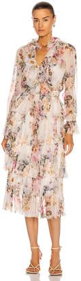 Zimmermann Brighton Tiered Frill Dress in Antique Floral   FWRD