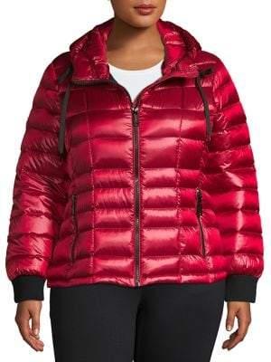Calvin Klein Plus Packable Hooded Puffer Down Coat