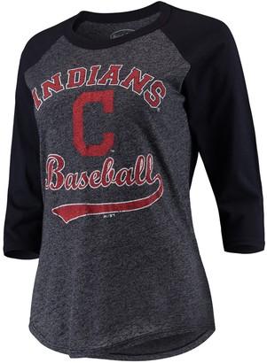 Majestic Women's Threads Navy Cleveland Indians Team Baseball Three-Quarter Raglan Sleeve Tri-Blend T-Shirt