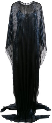 Oscar de la Renta Metallic Pleated Shift Gown