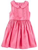 Osh Kosh Toddler Girl Pink Pleated Peter Pan Collar Dress