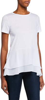 MICHAEL Michael Kors Crewneck Short-Sleeve Double Hem Top