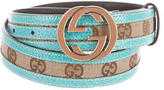Gucci Leather-Trimmed GG Belt