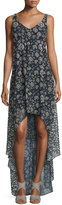 Erin Fetherston Sleeveless Floral High-Low Cocktail Dress, Black/Multicolor