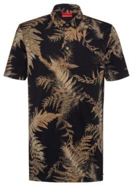 HUGO BOSS Slim Fit Polo Shirt In Mercerized Pique - Dark Green