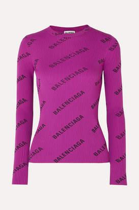 Balenciaga Printed Ribbed-knit Top - Purple