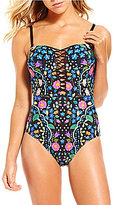 Kenneth Cole Reaction Garden Groove Cut-Out Embroidered Bandeau One-Piece
