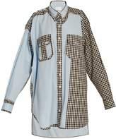 Maison Margiela Oversized gingham checked-trim cotton shirtdress