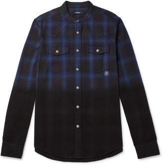 Balmain Slim-Fit Grandad-Collar Distressed Dip-Dyed Checked Cotton-Flannel Shirt