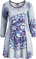 Aller Simplement Gray & Violet Geometric Shift Dress - Plus Too