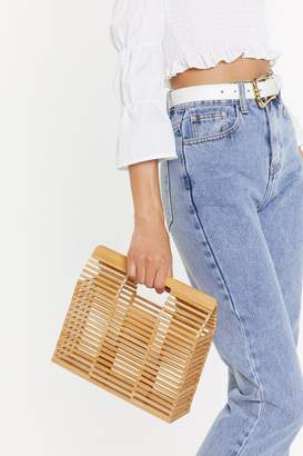Nasty Gal Womens WANT What Wood You Do Wooden Structured Bag - beige - One Size