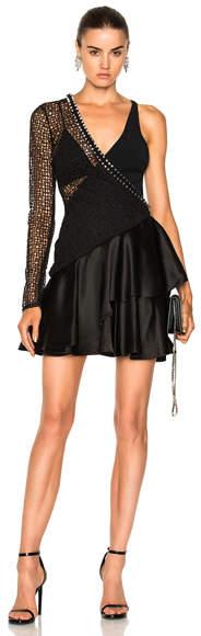David Koma One Sleeve Macrame Ruched Asymmetric Hem Dress