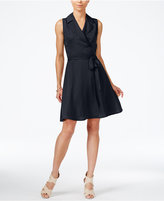 Armani Exchange Sleeveless Notched-Collar Shirtdress