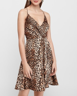 Express Leopard Print Satin Wrap Fit And Flare Dress