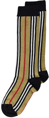 BURBERRY KIDS Icon Stripe Sock (Toddler/Little Kid) (Beige) Kids Shoes