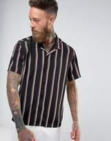 Asos Regular Fit Stripe Shirt With Revere Collar