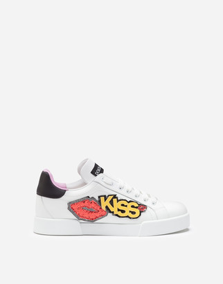 Dolce & Gabbana Portofino Sneakers In Calfskin With Kiss Patch