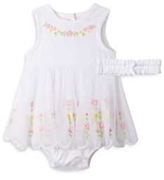 Little Me Girls' Embroidered Floral Bodysuit Dress & Headband Set - Baby