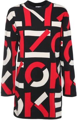 Kenzo Logo Intarsia Knit Cotton Blend Dress