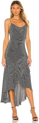 Alice + Olivia Ginger Cowl Neck Ruffle Skirt Dress