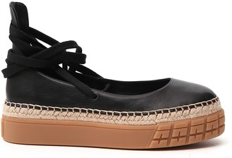 Prada Tie-Up Ballerina Flatform Shoes