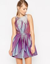 ASOS SALON Holographic Fold Pleat Skater Dress